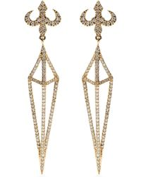 House of Waris - Lantern 18kt Yellow Gold Drop Earrings With White Diamonds - Lyst