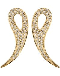 House of Waris - 18kt Gold Drop Spike Earrings With White Pavé Diamonds - Lyst