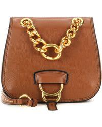 fe51e29a03a5 Lyst - Miu Miu Dahlia Leather Shoulder Bag in Brown