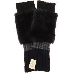 Stella McCartney - Fingerless Faux Fur-trimmed Virgin Wool Gloves - Lyst