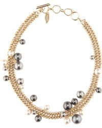 Lanvin - Pale Gold-tone Chain With Faux Pearls Necklace - Lyst