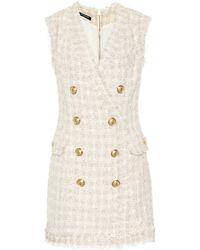 Balmain - Vestido corto de tweed - Lyst