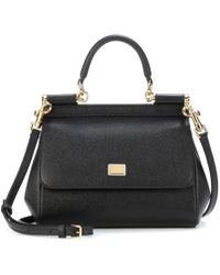 67e3505b61 Dolce   Gabbana - Black Sicily Dauphine Leather Small Satche - Lyst