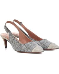 ALEXACHUNG - Checked Slingback Pumps - Lyst