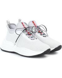 Prada Mesh And Neoprene Sneakers