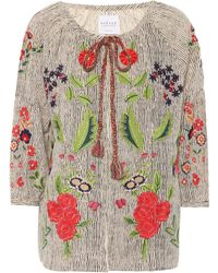 Velvet - Delfina Embroidered Cardigan - Lyst