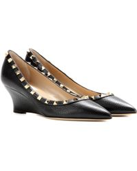 Valentino - Rockstud Leather Wedges - Lyst