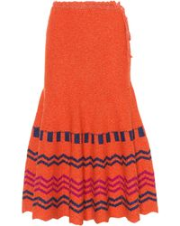 Valentino - Printed Wool Skirt - Lyst