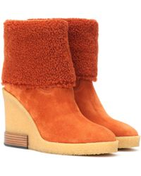 Tod's - Suede Wedge Ankle Boots - Lyst