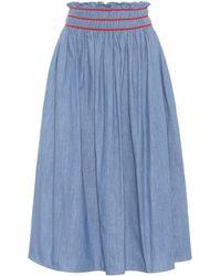 Miu Miu - Cotton Midi Skirt - Lyst