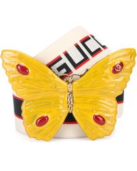 Gucci - Butterfly Striped Belt - Lyst
