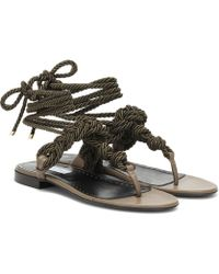 Max Mara - Laila Rope And Leather Sandals - Lyst