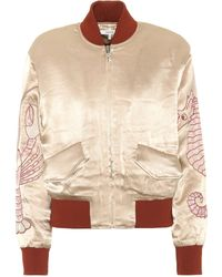 Ganni - Embroidered Satin Bomber Jacket - Lyst