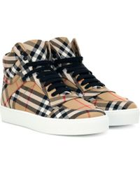 Burberry - Check High-top Sneakers - Lyst