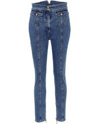 Balmain - High-waisted Skinny Jeans - Lyst