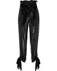 Attico - Velvet Paperbag Pants - Lyst