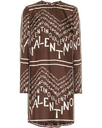 Valentino - Logo Printed Silk Twill Dress - Lyst