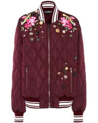 Dolce & Gabbana - Embroidered Bomber Jacket - Lyst