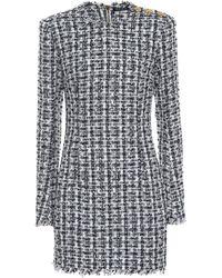 57004437 Balmain Fringed Tweed Dress in White - Lyst