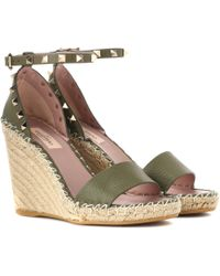 Valentino - Garavani Rockstud Leather Wedge Espadrilles - Lyst