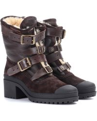 d085aeffb61 Lyst - Burberry Shearling-Lined Suede Ankle Boots in Natural