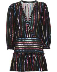 The Attico Striped Jacquard Minidress - Black