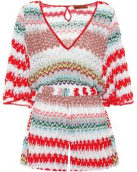 938853a3a5 Missoni - Striped Crochet Jumpsuit - Lyst