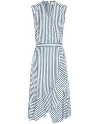 Carven - Striped Silk Dress - Lyst