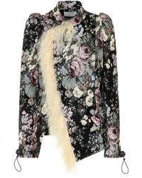 Preen By Thornton Bregazzi - Yulia Fur-trimmed Brocade Jacket - Lyst