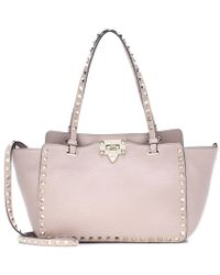 Valentino - Rockstud Small Leather Tote - Lyst