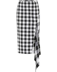 Monse - Checked Wool And Cotton Skirt - Lyst