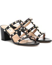 266440c148e8 Valentino Leather Crisscross Espadrille Wedge Sandals in Black - Lyst