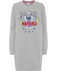KENZO - Embroidered Cotton Sweater Dress - Lyst