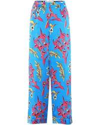 Etro - Silk Trousers - Lyst