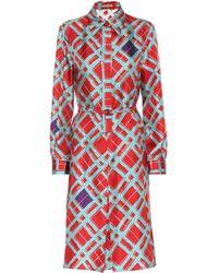 Bottega Veneta - Printed Silk Shirt Dress - Lyst