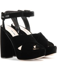 Miu Miu - Velvet Platform Sandals - Lyst