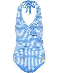 Ganni - Exclusive To Mytheresa. Com – Aroa Printed Halterneck Swimsuit - Lyst