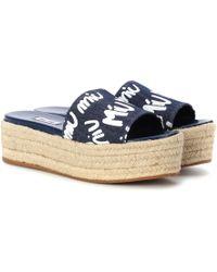 Miu Miu - Denim Platform Espadrille Sandals - Lyst