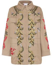 RED Valentino - Embroidered Cotton Jacket - Lyst