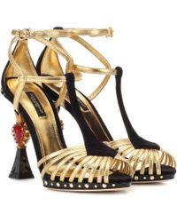 Dolce & Gabbana - Embellished Metallic Leather Sandals - Lyst