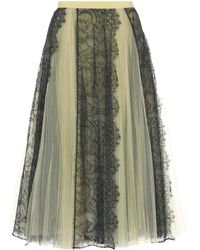 Burberry | Tulle And Lace Midi Skirt | Lyst