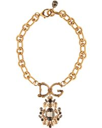 Dolce & Gabbana - Crystal-embellished Chain Necklace - Lyst