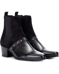 Balmain - Artemisia Leather And Suede Boots - Lyst