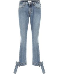 MSGM - Bow Trimmed Straight-leg Jeans - Lyst