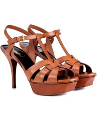 9613ab35169d Saint Laurent - Classic Tribute 75 Leather Plateau Sandals - Lyst