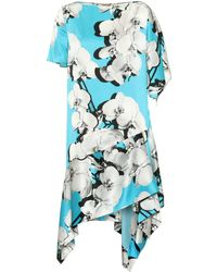 Roberto Cavalli - Printed Asymmetric Silk Dress - Lyst