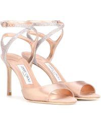 Jimmy Choo - Helen 85 Satin And Glitter Sandals - Lyst
