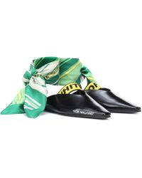 Off-White c/o Virgil Abloh - Leather Scarf-tie Flats - Lyst