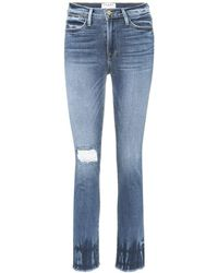 FRAME - Jeans Le High Straight destroyed - Lyst