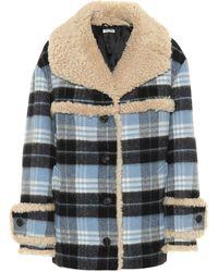 5b647e1debd Lyst - Miu Miu Wool And Angora-blend Fur-trim Coat in Blue